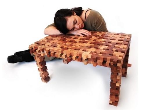 6 mesa tetris madera