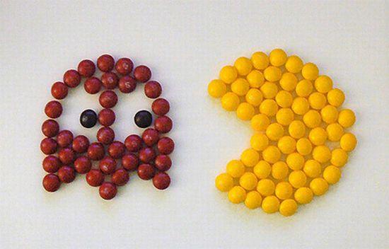Pacman en Skittles