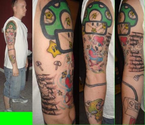 4 Tatuaje super mario brazo