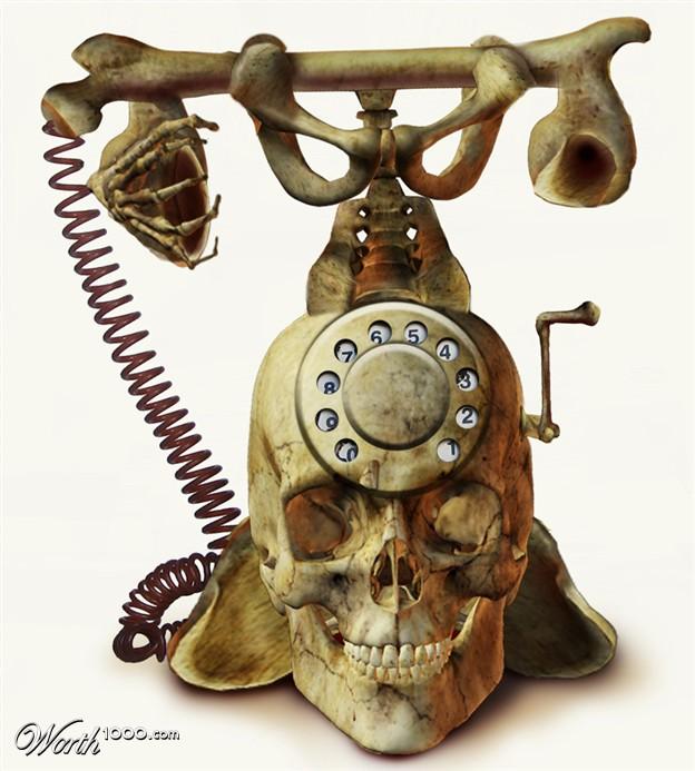 Teléfono de Escritorio de Calavera