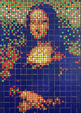 Mosaico de Cubo Rubik de Mona Lisa