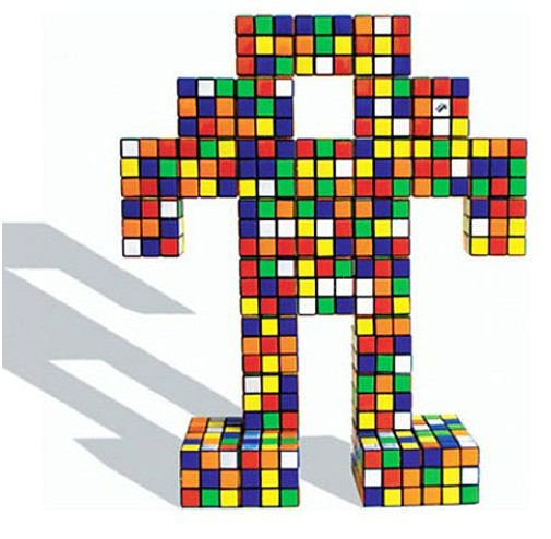 Mosaico de Cubo Rubik de Robot