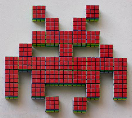Mosaico de Cubo Rubik de Space Invaders 3