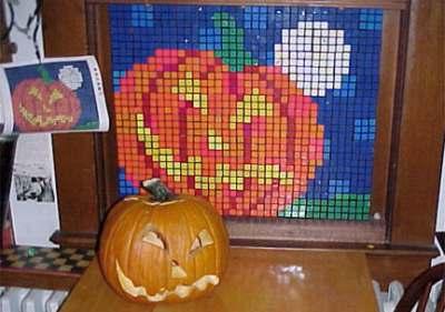 Mosaico de Cubo de Rubik de Calabaza de Halloween