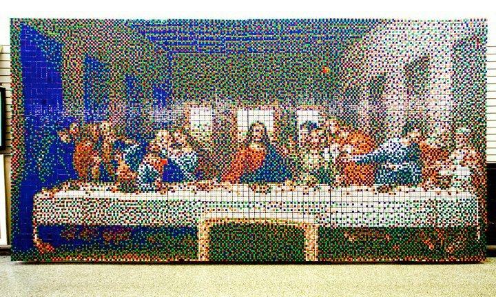 Mosaico de Cubos Rubik de La Última Cena